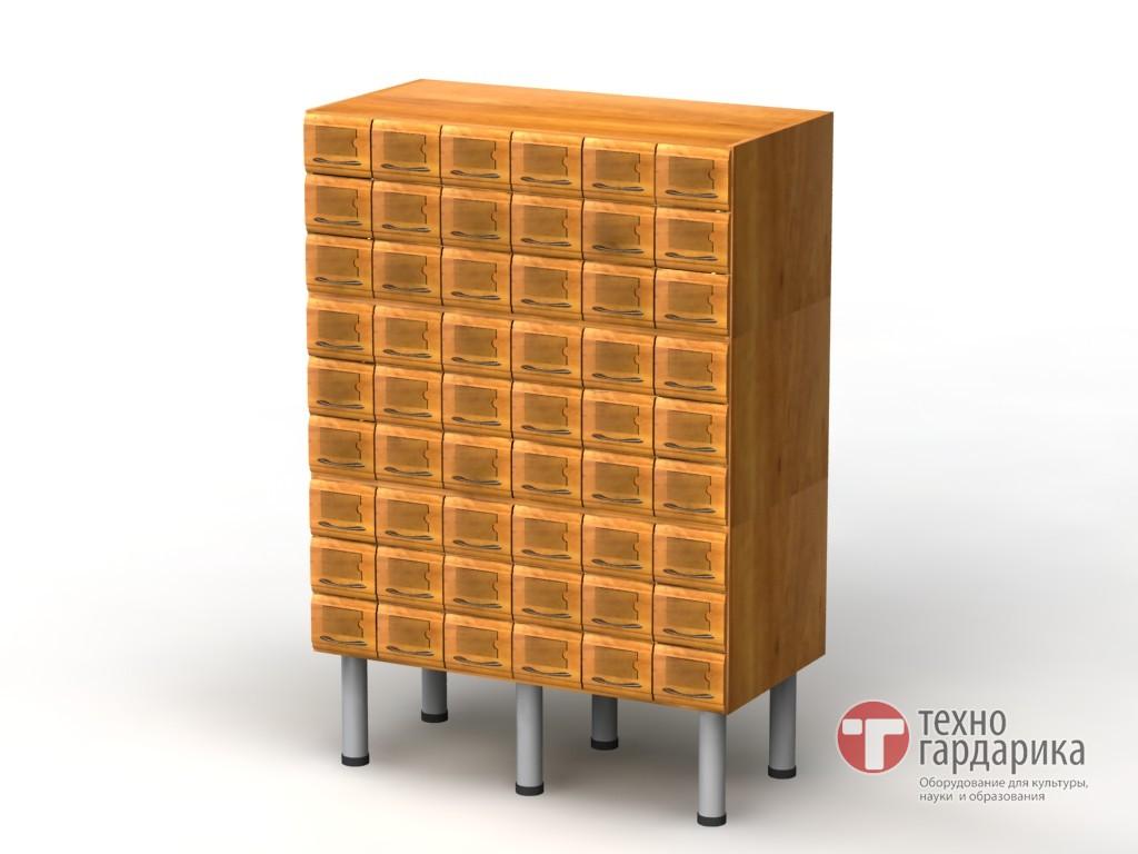 Шкаф каталожный, 3-модульный, 54 ящика (9х6), на опорах h238.