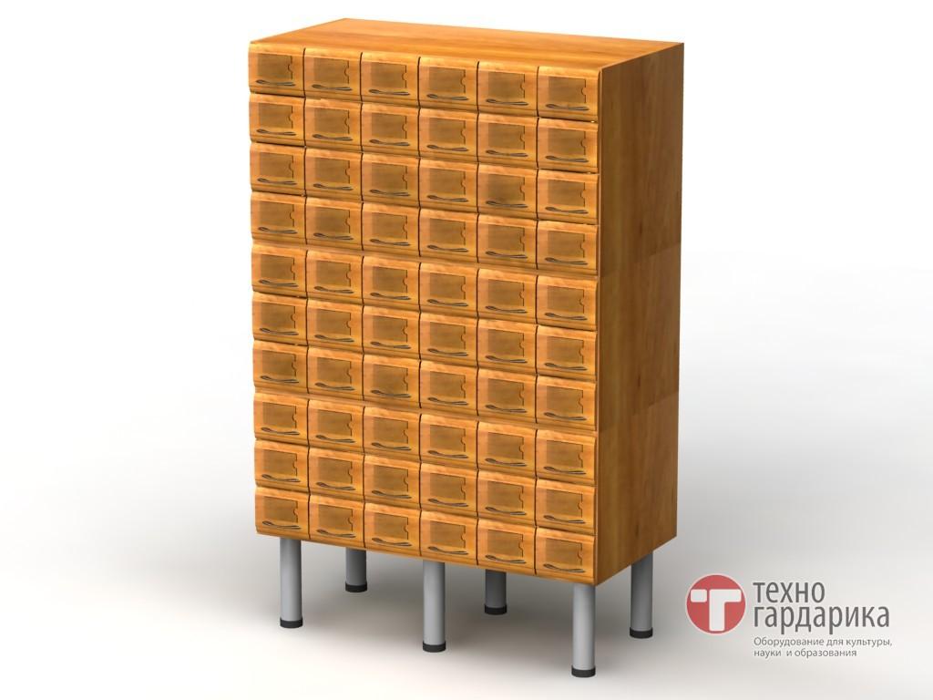Шкаф каталожный, 3-модульный, 60 ящиков (10х6), на опорах h2.