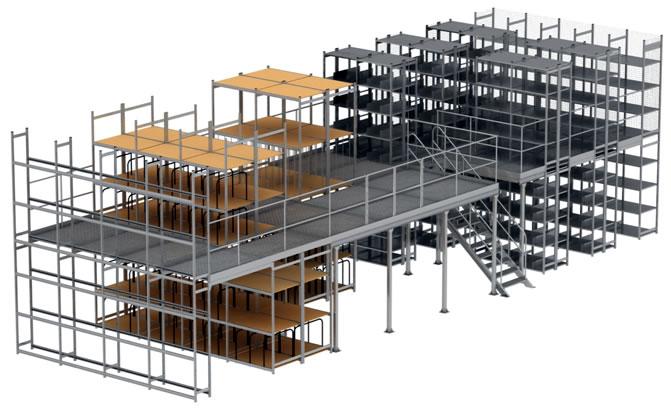 Архивный мезинин на 2 х этажах с применением стеллажей